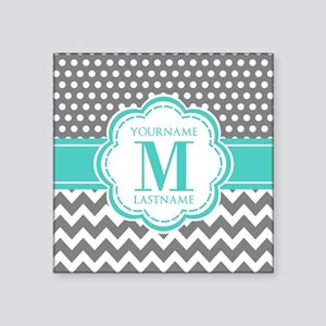"Personalized Polka Dots Che Square Sticker 3"" x 3"""