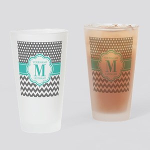 Personalized Polka Dots Chevron Gra Drinking Glass