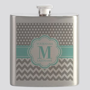 Personalized Polka Dots Chevron Gray Flask