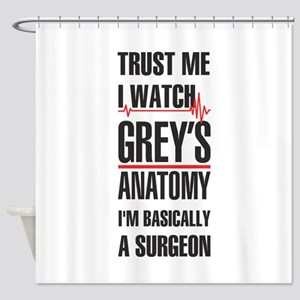 Greys Anatomy trust me black Shower Curtain