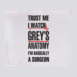 Greys Anatomy trust me black Throw Blanket