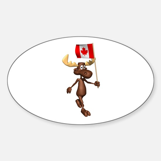 Cute Canadian Moose Oval Decal