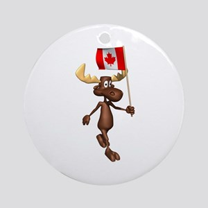 Cute Canadian Moose Ornament (Round)