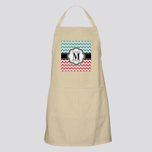 Teal and Coral Chevron with Custom Monogram Apron