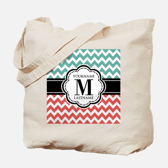 Teal and Coral Chevron with Custom Monogr Tote Bag