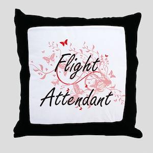 Flight Attendant Artistic Job Design Throw Pillow