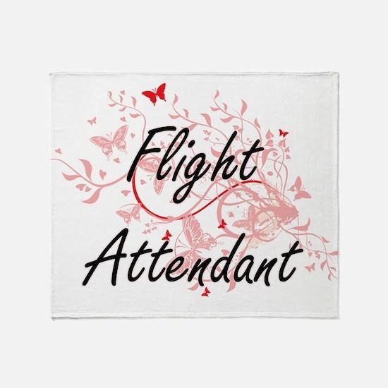 Flight Attendant Artistic Job Design Throw Blanket