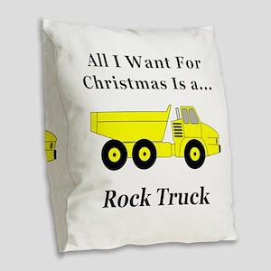 Christmas Rock Truck Burlap Throw Pillow