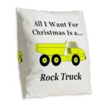 Christmas Rock Truck Burlap Throw Pillow