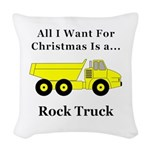 Christmas Rock Truck Woven Throw Pillow