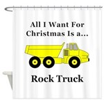 Christmas Rock Truck Shower Curtain