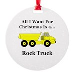 Christmas Rock Truck Round Ornament