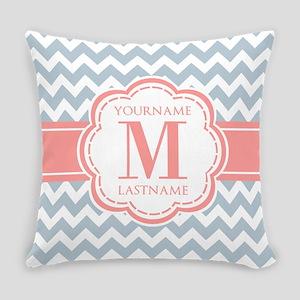 Monogram Blue Chevron Zigzag Custo Everyday Pillow