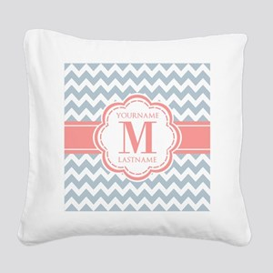 Monogram Blue Chevron Zigzag Square Canvas Pillow
