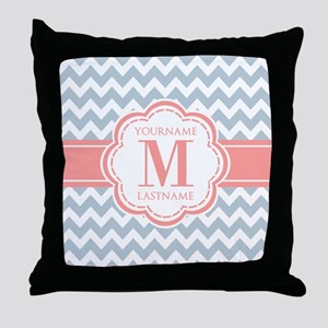 Monogram Blue Chevron Zigzag Custom Throw Pillow
