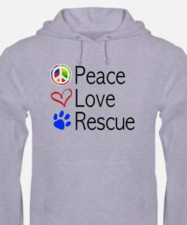 Peace Love Rescue Mens Hoodie Jumper Hoody