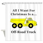 Christmas Off Road Truck Shower Curtain