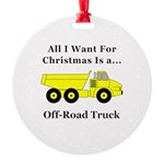 Christmas Off Road Truck Round Ornament