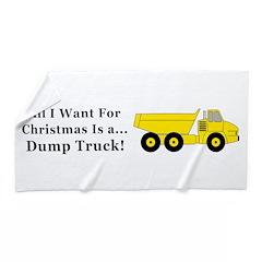 Christmas Dump Truck Beach Towel