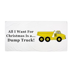 Christmas Dump Truck Beach Towel