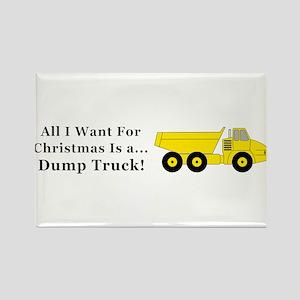 Christmas Dump Truck Rectangle Magnet