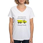 Christmas Dump Truck Women's V-Neck T-Shirt