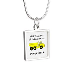 Christmas Dump Truck Silver Square Necklace