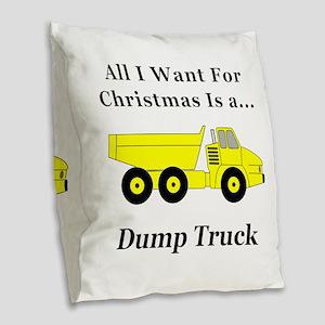 Christmas Dump Truck Burlap Throw Pillow