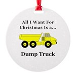 Christmas Dump Truck Round Ornament