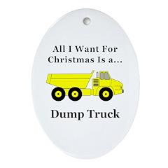 Christmas Dump Truck Oval Ornament