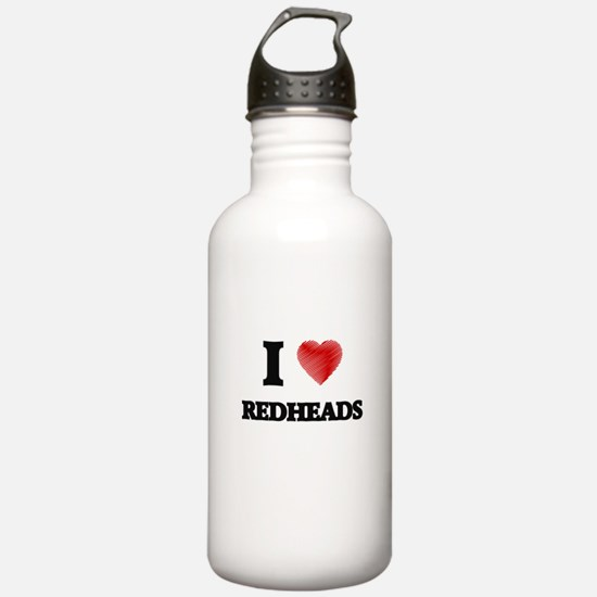 I Love Redheads Water Bottle