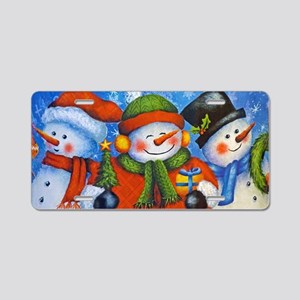 3 Happy Snowmen Aluminum License Plate
