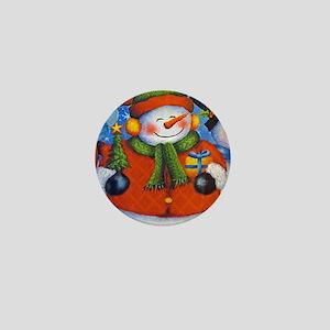 3 Happy Snowmen Mini Button