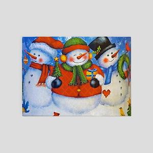 3 Happy Snowmen 5'x7'Area Rug
