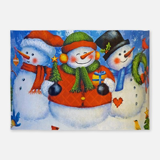 3 Happy Snowmen 5'x7'Area Rug