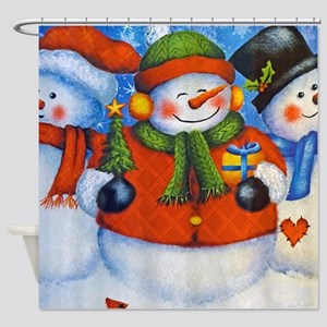 3 Happy Snowmen Shower Curtain