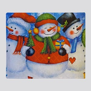 3 Happy Snowmen Throw Blanket