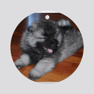 keeshond puppy Round Ornament