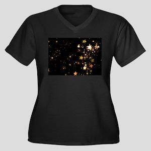 black gold stars Plus Size T-Shirt