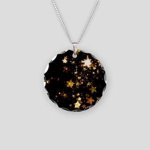 black gold stars Necklace Circle Charm