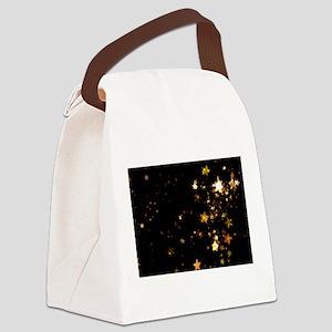 black gold stars Canvas Lunch Bag