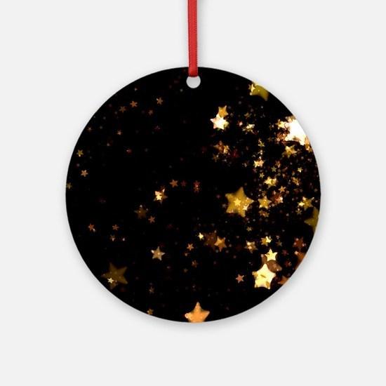 black gold stars Round Ornament