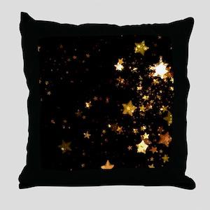 black gold stars Throw Pillow