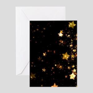 black gold stars Greeting Cards
