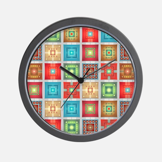 Colorful Tiles Pattern Wall Clock