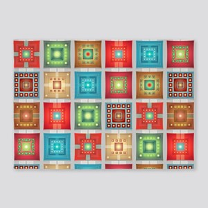 Colorful Tiles Pattern 5'x7'Area Rug
