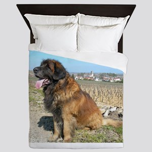 leonberger sitting Queen Duvet