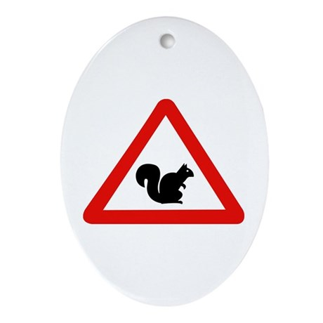 Squirrels Crossing, Spain Oval Ornament