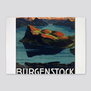 Vintage poster - Switzerland 5'x7'Area Rug