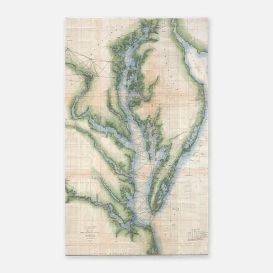 Vintage Map of The Chesapeake Bay (1873) Area Rug